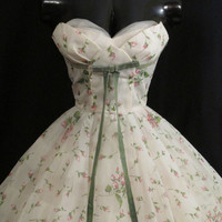 Vintage 1950's 50s STRAPLESS Lorrie Deb White Pink Floral Print Chiffon Organza Velvet Bow Party Prom Wedding DRESS