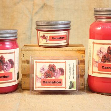 Carnation Scent Candles and Wax Melts, Flower Scent Candle Wax, Highly Scented Candles and Wax Tarts, Gift for Mom, Spring Scent Candle