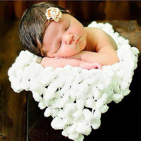 Baby Soft Photography For Photo Props Blanket 60*60cm white Newborn Clothes 3C