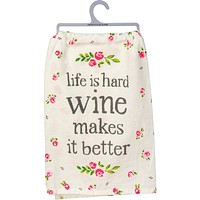 """Life Is Hard Wine Makes It Better Pink Floral Funny Snarky Dish Cloth Towel / Novelty Silly Tea Towels / Cute Hilarious Farmhouse Kitchen Hand Towel 