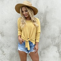 Knot Sorry Knit Yellow Top