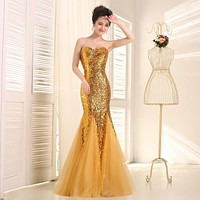 Fast Delivery Purple Long Mermaid Prom Dresses Sweetheart Gold Sequins Party Dress For Women Gold Mermaid Evening Gown SA957