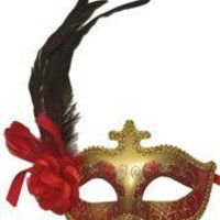 Red and Gold Venetian Masquerade Mask with Red Plumes and Flower on the Side