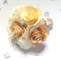 Gold, ivory and champagne country chic paper Peony bouquet, Burlap, pearls and lace bouquet, Shabby chic flower girl Bouquet, Toss bouquet