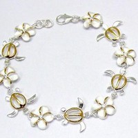 925 STERLING SILVER HAWAIIAN PLUMERIA FLOWER HONU TURTLE 2 TONE YELLOW BRACELET