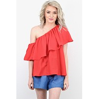 Ruffle Cold Shoulder + One Shoulder Blouse {Poppy} - Size SMALL
