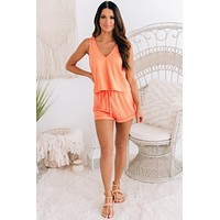 Hit The Hay Knit Two Piece Set (Coral)