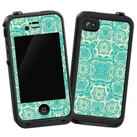 Blue on Cream Floral Damask Skin  for the iPhone 4/4S Lifeproof Case by skinzy.com