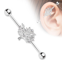 Silver Tree of Life CZ Set 14ga 316L Surgical Steel Industrial Barbells Body Jewelry