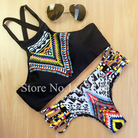 2016 New Women Bikinis High Neck Push up Bikini Set Geometry Black Swimwear Female Slim Print Swimsuit Biquini brazilian Beach