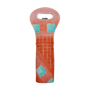 Coral and Turquoise Wine Tote, abstract geometric art