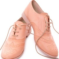 Wanted Lace Up Oxford Pink