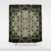 Yellow & Black Etched Delicate Flowers Shower Curtain by 2sweet4words Designs