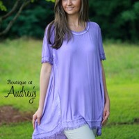 Umgee Lavender Frayed Top - Boutique At Audrey's