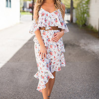 When In Venice Off The Shoulder Asymmetric Ruffle Detail Floral Dress (White)