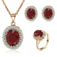 18K Rose Gold Plated Simulated Rubine Necklace Ring And Earring Jewelry Use Austrian Crystal Bridal Sets = 1946132484