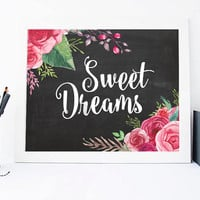 Sweet Dreams, Watercolor Digital Print, Wall Decor, Calligraphy, Apartment,Typography, Chalkboard , Home Decor, Poster Art, Quote Print