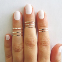 8 Above the Knuckle Rings - Silver stacking ring, Knuckle Ring, Thin silver shiny bands, Midi rings, Silver accessories, Birthday gift = 1652434948