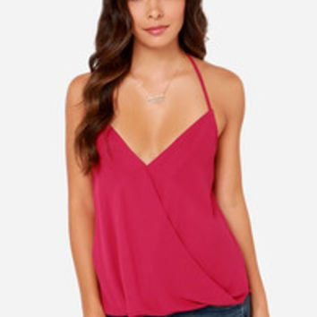 All the Stops Berry Pink Halter Top
