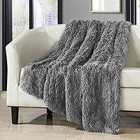 """Chic Home 1 Piece Anchorage Shaggy Faux Fur Supersoft Ultra Plush Decorative Throw Blanket 50 x 60"""" White (50 x 60"""", Silver)"""