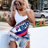 FENDI New Fashion Hot Sale Stylish Women Sexy More Letter Print Vest Type Bathing One Piece Bikini Swimsuit Bodysuit