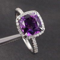 Cushion Amethyst Engagement Ring Pave Diamond Wedding 14K White Gold 8mm Claw Prongs