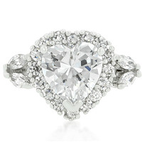 Eleacie Heart Halo CZ Engagement Ring | 4ct | Cubic Zirconia | Silver
