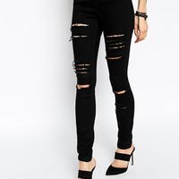 ASOS Ridley High Waist Ultra Skinny Jeans in Clean Black with Extreme Rips and Busts