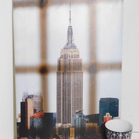 Empire State Building - Wiiliamsburg Bridge View - New York Photo - Printed on Canvas 13 in x 19 in, Cup and Bag are placed to show the size