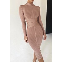 Carera Toffy Cross Strap Belt Ribbed Bandage Dress