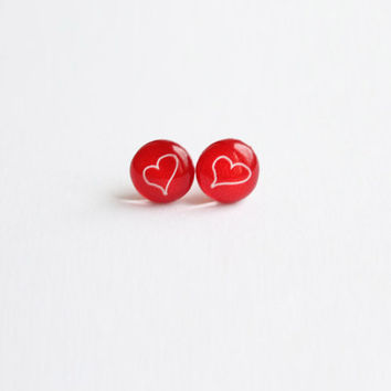 10 mm small studs, red heart earrings, heart earrings, heart studs, red heart studs, heart stud earrings, valentines day gifts, valentine
