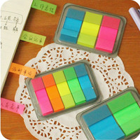 New Fluorescent Color Transparent Pocket Sticky Flags Planner Sticker Stationery Sticky Notes Memo Pad Notepad Message note