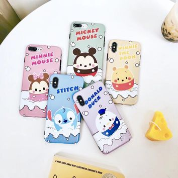 Cute Winnie pooh Egg Bear Stitch duck case for iPhone X XS Max XR 6 6S 7 8 Plus Soft Silicone IMD classic Cartoon Chick Cover