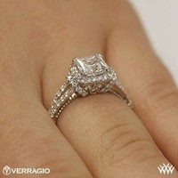 On hand view of Verragio Dual Claw Princess Halo Diamond Engagement Ring | 3163