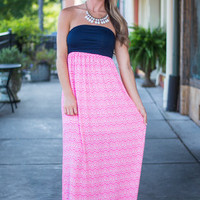 Pattern On The Back Maxi Dress, Pink