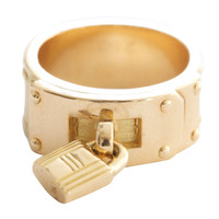 Hermes H Lock Buckle Gold Band Ring