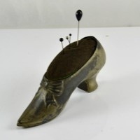 Boot Pincushion Antique Silver Plate Shoe Style Early Era Sewing Notion Tarnished Vintage Early Curio Victorian Home Decor