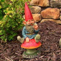 Garden Gnome Sitting On A Mushroom Holding A Butterfly