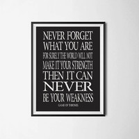 """Game Of Thrones Quote """"Never forget what you are"""" Game Of Thrones Typography Poster Wall Hanging TV Series Typography Poster  Inspirational"""