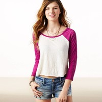 AEO Women's Cropped Baseball T-shirt