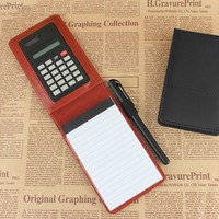 2016 creative stationery pu leather notebook notepad diary memo A7 planner Multifunction pocket mini notepad with calculator