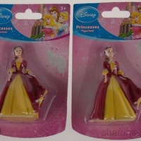 Disney Princess Figurines Belle Dolls Set 2 Miniature Figure Toy Cake Topper Lot