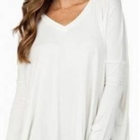 White Loose Fit V Neck Long Sleeve Slouch Tee Shirt Top