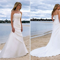 Summer Beauty Strapless Court Train Lace Up Backless White Beach Wedding Dresses 2014 Bridal Gowns = 1932578436