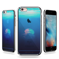 LUXENDARY JELLYFISH IN THE OCEAN SEETHROUGH DESIGN TEXTURE PRINTED COOL DESIGN STYLISH CHROME SERIES CASE FOR IPHONE 6/6S PLUS
