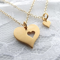 Mother Daughter Necklace Set GOLD Mother necklace Mother daughter jewelry Mothers day Mom necklace