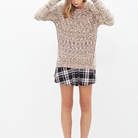 FOREVER 21 Marled Crew Neck Sweater Beige/Red