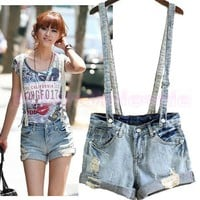 Korea Stylish Washed Denim Ripped Overalls Pants Shorts Suspenders Jeans US 2-14