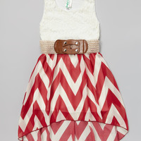 Burgundy Lace Zigzag Belted Hi-Low Dress | Daily deals for moms, babies and kids