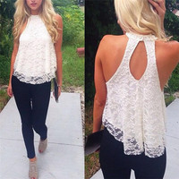 Newest Women Summer Tank Tops 2016 Fashion Sexy Halter Crochet Hollow Out Sleeveless Floral Crop Top Solid Lace Cropped Shirt